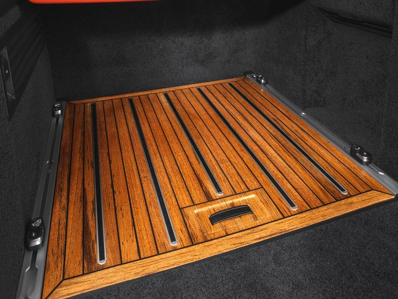 Teak wood floor for luggage space